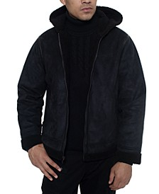 Men's Faux Shearling Hooded Bomber Jacket