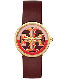 Tory Burch Women's Reva Burgundy Leather Strap Watch 36mm