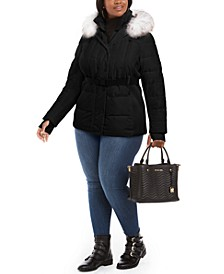 Plus Size Belted Faux-Fur-Trim Hooded Puffer Coat