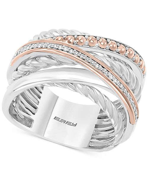 EFFY Collection EFFY® Diamond Crossover Statement Ring (1/10 ct. t.w.) in Sterling Silver and 14k Rose Gold