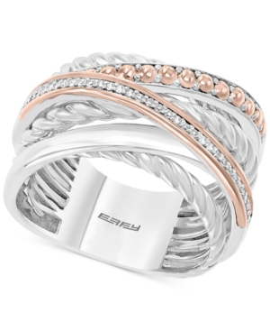 Effy Diamond Crossover Statement Ring (1/10 ct. t.w.) in Sterling Silver and 14k Rose Gold
