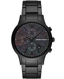 Men's Chronograph Black Stainless Steel Bracelet Watch 43mm