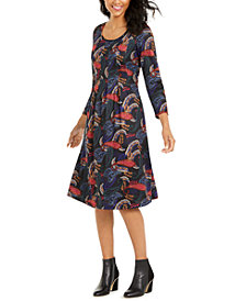 NY Collection Petite Paisley-Print Pleated Dress