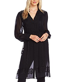 Sheer Lace-Trimmed Long Blouse