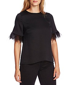 Faux-Feather Sleeve Blouse