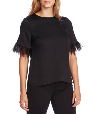 Vince Camuto Tops FAUX-FEATHER SLEEVE BLOUSE
