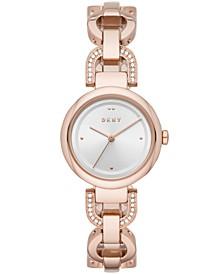 Women's Eastside Rose-Gold Tone Pavé Stainless Steel Chain Bracelet Watch 30mm