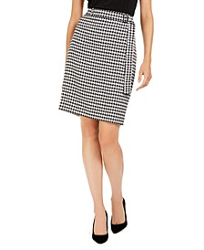 Belted Houndstooth Pencil Skirt