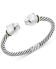 EFFY® Diamond (1/3 ct. t.w.) & Tsavorite (1/10 ct. t.w.) Panther Head Cuff Bracelet in Sterling Silver & 18k Gold-Plate