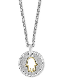 "EFFY® Hamsa 18"" Pendant Necklace in Sterling Silver and 14k Gold Over Sterling Silver"