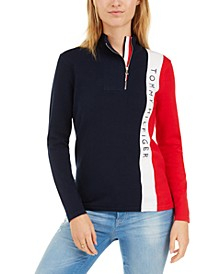 Colorblock Logo Zip-Neck Sweater, Created For Macy's