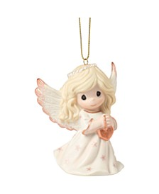 Precious Moments Rejoice In The Wonders Of His Love 9th Annual Angel With Rose Gold Heart Bisque Porcelain Christmas Ornament