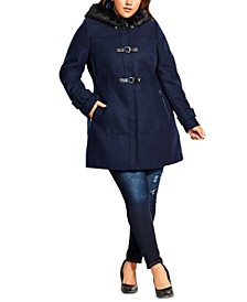 Trendy Plus Size Faux-Fur-Hood Coat
