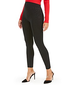 I.N.C Seamless Embossed Animal-Print Leggings, Created For Macy's