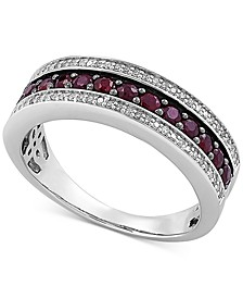 Certified Ruby (5/8 ct. t.w.) & Diamond (1/6 ct. t.w.) Band in Sterling Silver (Also in Sapphire)