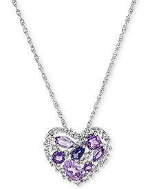 "Amethyst (1-1/5 ct. t.w.) & Iolite (1/5 ct. t.w.) Open Heart 18"" Pendant Necklace in Sterling Silver"