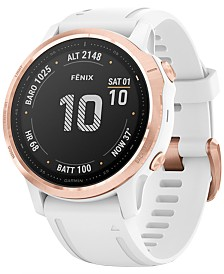 Garmin Fenix 6S White Silicone Strap Smart Watch 42mm
