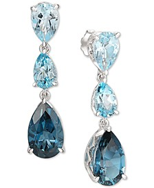 Deep Sea Blue Topaz (6-7/8 ct. t..w) & Sky Blue Topaz (5-1/4 ct. t.w.) Drop Earrings Set in 14k White Gold