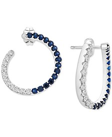 Lab-Created Blue Sapphire (1-1/2 ct. t.w.) & White Sapphire (1-1/10 ct. t.w.) Front & Back Hoop Earrings in Sterling Silver