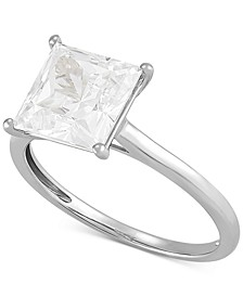 Swarovski Zirconia Princess Ring in 14k White Gold