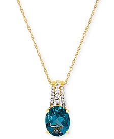 "London Blue Topaz (3-1/3 ct. t.w.) & Diamond (1/10 ct. t.w.) 18"" Pendant Necklace in 14k Gold"
