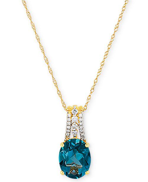 "Macy's London Blue Topaz (3-1/3 ct. t.w.) & Diamond (1/10 ct. t.w.) 18"" Pendant Necklace in 14k Gold"