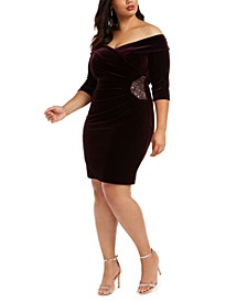 Plus Size Velvet Embellished Sheath Dress