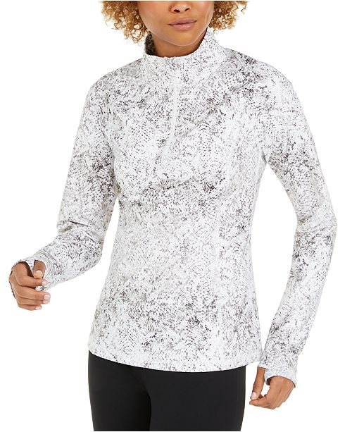 Ideology Snake-Print Quarter-Zip Top, Created for Macy's