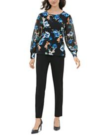 Calvin Klein Floral-Print Chiffon-Sleeve Top