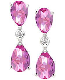 Pink Topaz (6-5/8 ct. t.w.) & Diamond (1/20 ct. t.w.) Drop Earrings in 14k White Gold