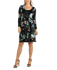 Women's Floral Knee Length Pleated Long Sleeve Dress