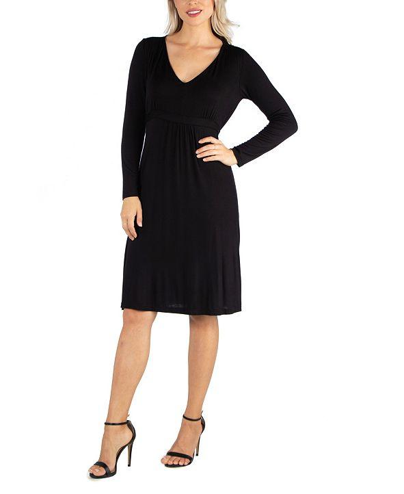 24seven Comfort Apparel Women's V-Neck Long Sleeve Professional Dress