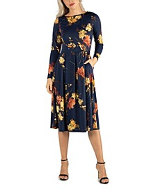 Women's Floral Long Sleeve Fit and Flare Midi Dress