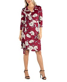 Women's Collared Burgundy Wrap Dress