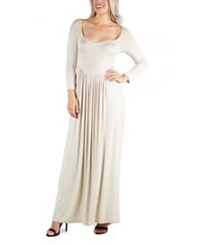 24seven Comfort Apparel Women's Long Sleeve Pleated Maxi Dress