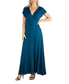 24seven Comfort Apparel Women's Cap Sleeve V Neck Maxi Dress