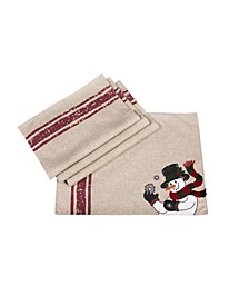 "Joyful Snowman Christmas Placemats, 13"" x 18"", Set of 4"