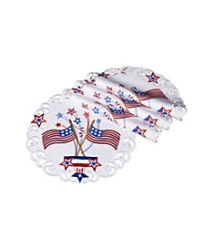 """Star Spangled Embroidered Cutwork Round Placemats, 15"""", Set of 4"""