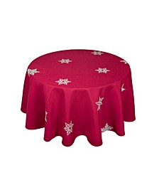 """Glisten Snowflake Embroidered Christmas Round Tablecloth, 70"""""""