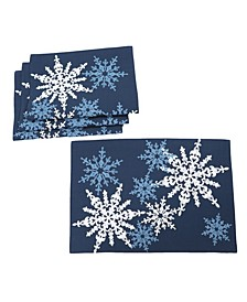 """Magical Snowflakes Crewel Embroidered Christmas Placemats 14"""" x 20"""", Set of 4"""