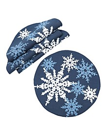 "Magical Snowflakes Crewel Embroidered Christmas Placemats 16"" Round, Set of 4"