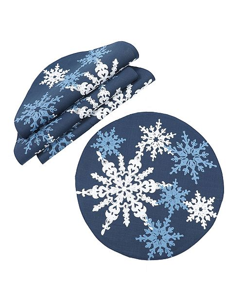 """Manor Luxe Magical Snowflakes Crewel Embroidered Christmas Placemats 16"""" Round, Set of 4"""