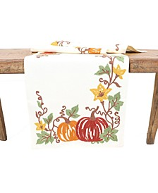 Happy Fall Pumpkins Crewel Embroidered Table Runner Collection