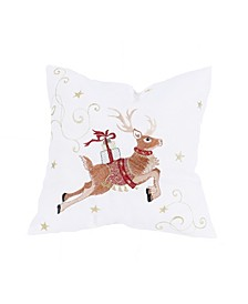 "Reindeer with Gifts Embroidered Christmas Pillow 14"" x 14"""