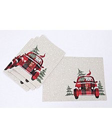"Santa Claus Riding on Car Christmas Placemats 14"" x 20"", Set of 4"