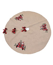 "Santa Claus Riding on Car Christmas Tree Skirt 56"" Round"
