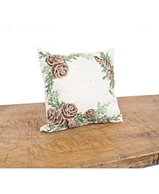 """Winter Pine Cones and Branches Crewel Embroidered Pillow 14"""" x 14"""""""