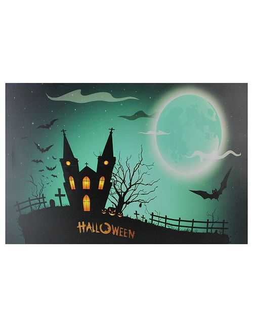 "Northlight LED Lighted Eerie Church in Cemetery Halloween Canvas Wall Art, 15.75"" x 23.5"""
