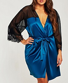 Plus Size Elegant Ultra Soft Sain Lace Robe with Mesh Panels