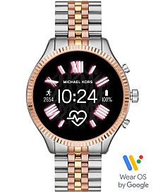 Michael Kors Access Lexington 2 Tri-Tone Stainless Steel Bracelet Touchscreen Smart Watch 44mm, Powered by Wear OS by Google™
